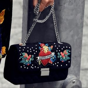 Zara Embroidered Black Quilted Bag